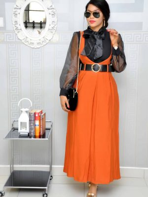 Burnt Orange Pinefore Dress with Black Belt