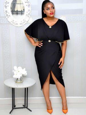 Black Studded Cape Dress