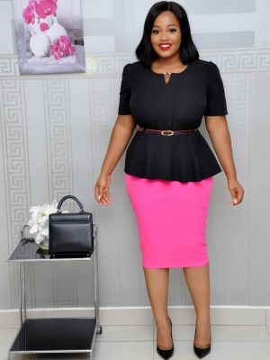 Black and Pink Peplum Skirts Set