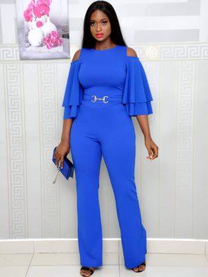 Blue Jumpsuit with Cold Shoulder