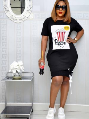 Black Popcorn Shirt Dress