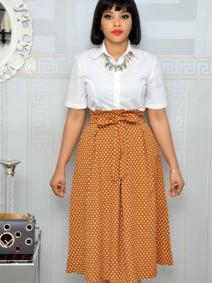Brown Polkadot Skater Skirts with Front Bow