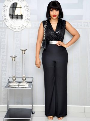 Black Sleveless Sequin Jumpsuit