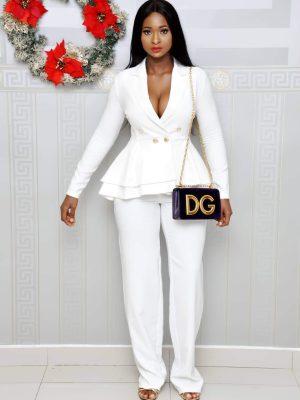 White Blazer and Trousers Set