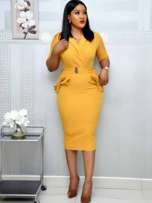 Mustard Bow Pocket Dress with belt