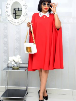 RED PETER PAN CAPE DRESS