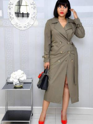 Army Green Military Dress with Button