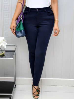Navy Blue Super Skinny High Waist Jeans Trouser