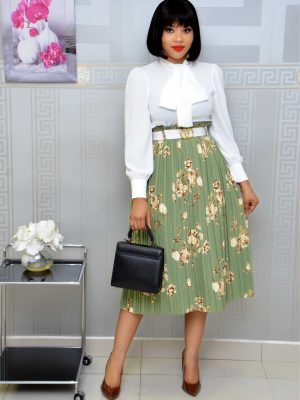 GREEN FLORAL BUTTON DOWN PLEATED SKIRT