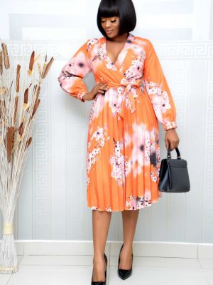 ORANGE FLORAL PLEATED WRAP DRESS