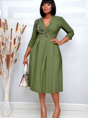 ARMY GREEN WRAP DRESS WITH STUDDED ROSES