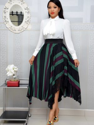 GREEN & PURPLE ASYMMETRICAL SKIRT