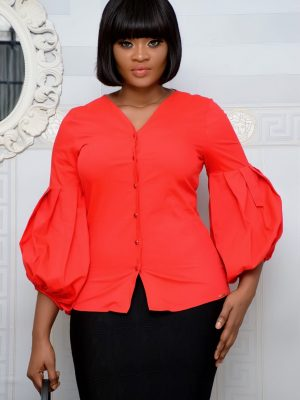 RED PUFFY SLEEVE TOP