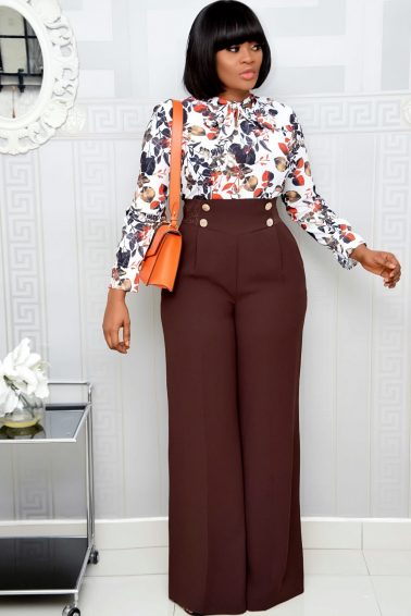 BROWN HIGH WAIST PALAZZO TROUSER