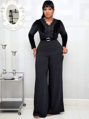 BLACK STUDDED VELVET JUMPSUIT WITH BELT