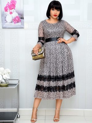 ANIMAL PRINT SHIMMERY DRESS WITH LACE