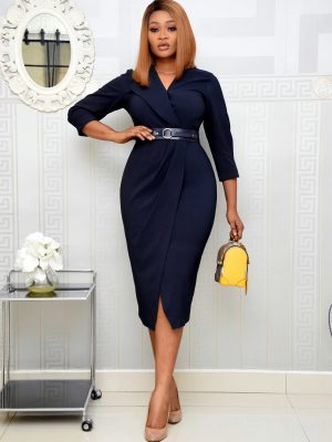 NAVY BLUE WRAP DRESS WITH BELT