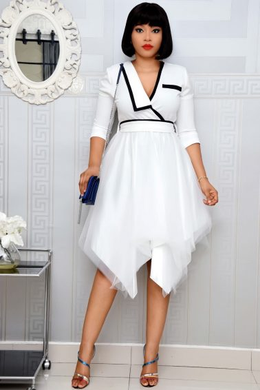 WHITE & BLACK BELTED DRESS WITH MESH