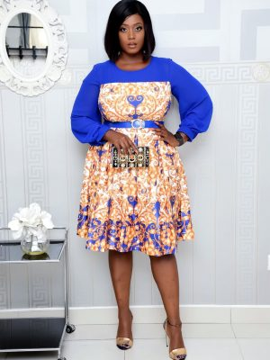 BLUE AND GOLD FLORAL SKATER DRESS WITH CLIFFON SLEEVE