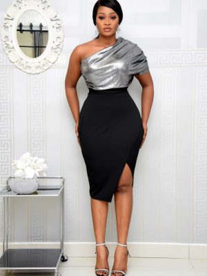 BLACK & SILVER METALLIC MONO-STRAP DRESS