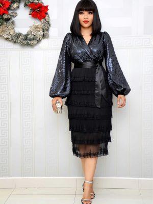 BLACK & SILVER SEQUIN LAYER DRESS