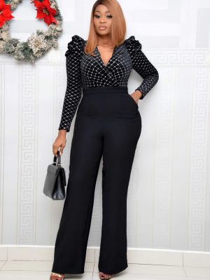 BLACK OPEN BACK STUDDED JUMPSUIT