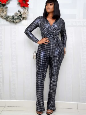 BLACK & SILVER SEQUIN JUMPSUIT