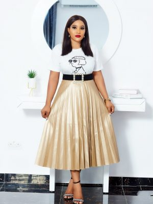 CHAMPAGNE GOLD LEATHER PLEATED SKIRT
