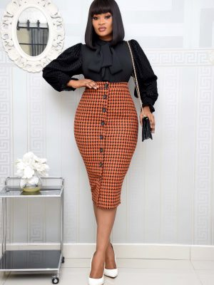 BLACK AND ORANGE HOUND TOOTH BUTTON DOWN SKIRT