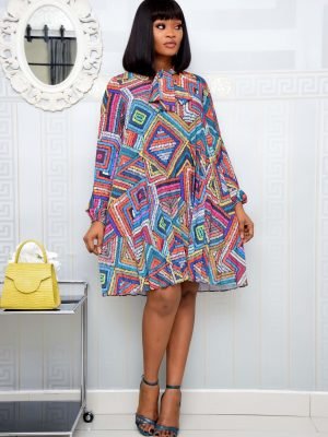 AZTEC MULTICOLOURED PLEATED SHIFT