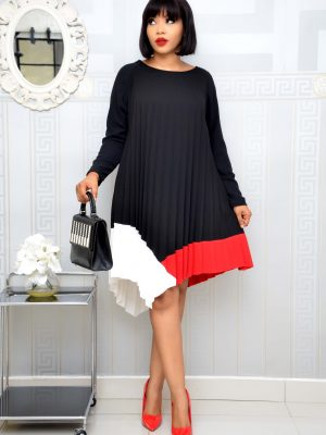 BLACK AND RED PLEATED SHIFT DRESS