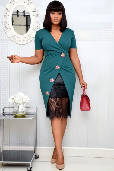 GREEN WRAP DRESS WITH LACE INNER