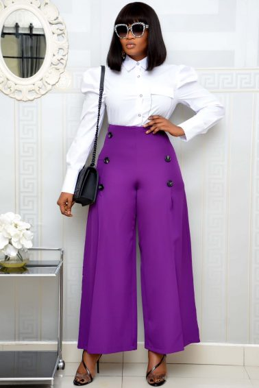 PURPLE PALAZZO TROUSER WITH BUTTON