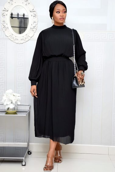BLACK PLEATED TUNIC DRESS