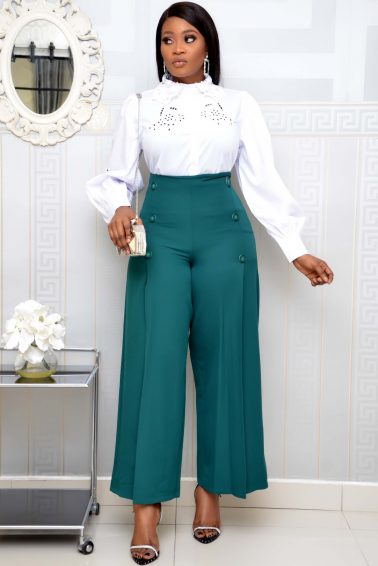 GREEN CULOTTE WITH BUTTON