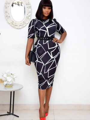 BLACK AND WHITE DRESS WITH PRINTED SHAPES