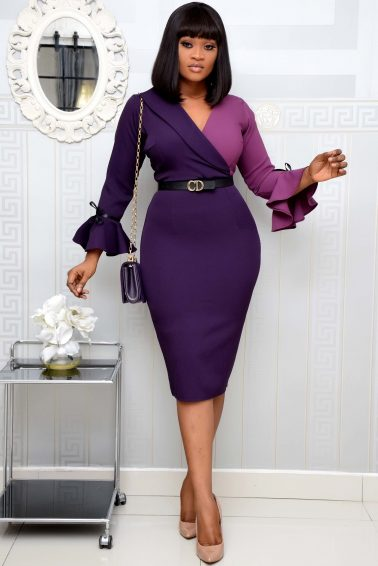 LILAC/PURPLE LAPEL DRESS