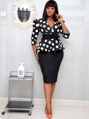 BLACK POLKA DOT PEPLUM SET