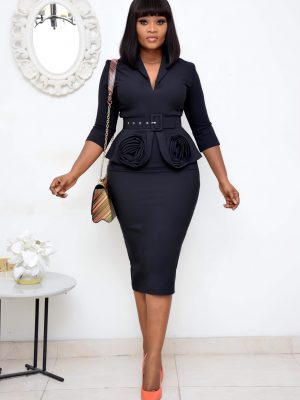 BLACK BELTED PEPLUM DRESS WITH RUFFLES