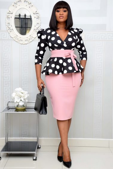 PEACH POLKA DOT PEPLUM SET