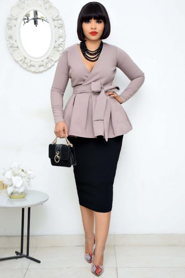 DOVE GREY PEPLUM WRAP BLAZER