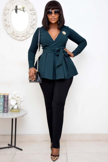 BOTTLE GREEN  PEPLUM WRAP BLAZER