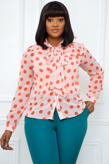 PEACH AND ORANGE POLKADOT TOP WITH BOW