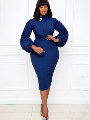 NAVY BLUE CUT-OUT NECK MIDI