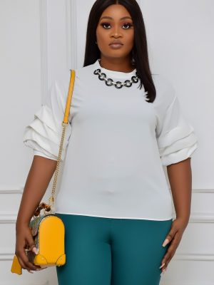 WHITE PUFFY SLEEVE TOP WITH BEADED NECK