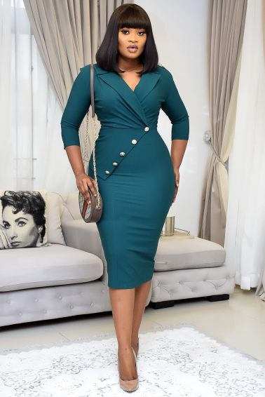 GREEN MILITARY MIDI WITH BUTTON