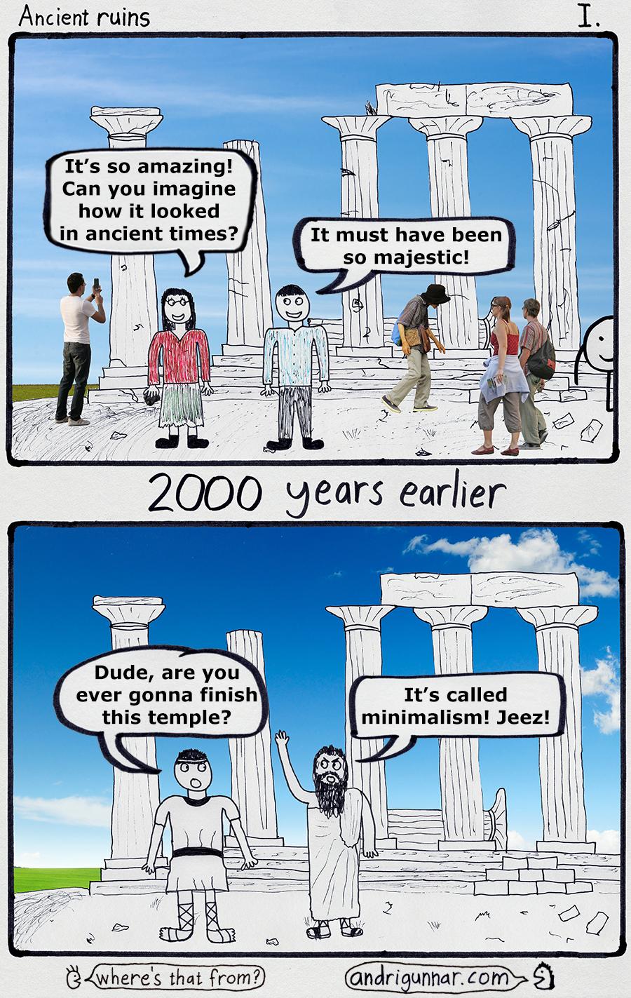 ancient ruins greece comic andri gunnar minimalism funny temple