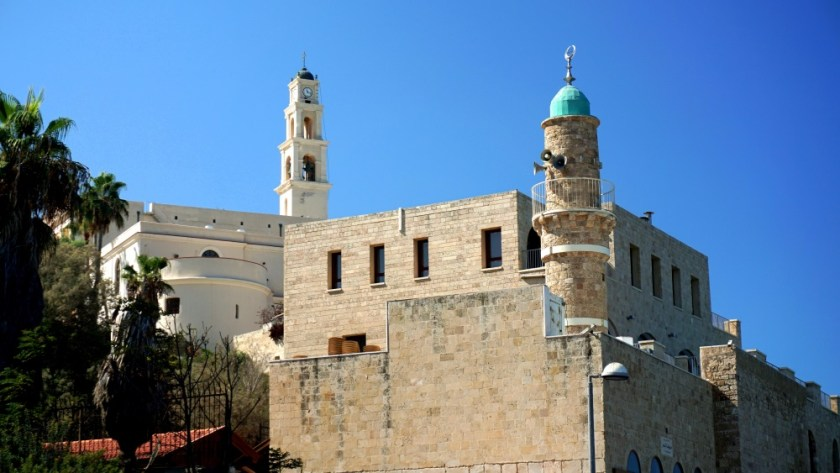 Old Jaffa minaret and church