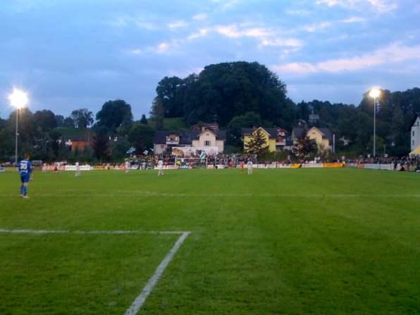 Blick aufs Spielfeld mit Gästefans