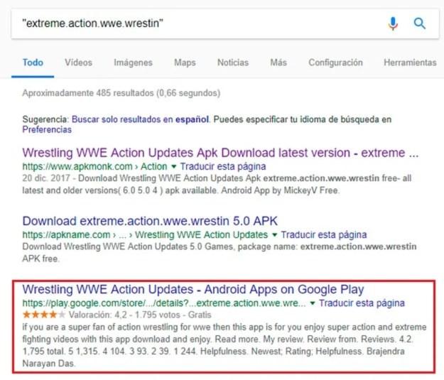 App infectada indexada en Google
